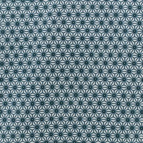 Cretonne cotton Fabric Saki - white/ duck blue x 10 cm