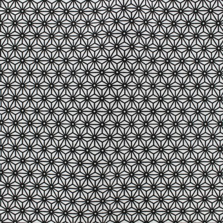 Cretonne cotton Fabric Saki - white/black x 10 cm