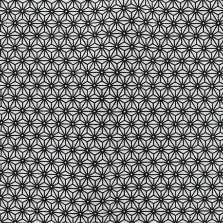 Tissu coton crétonne Saki - blanc/noir x 10cm