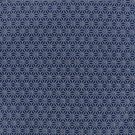 Tissu coton crétonne Saki - bleu/blanc x 10cm