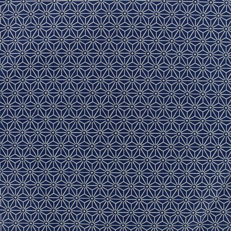 Cretonne cotton Fabric Saki - blue/white x 10 cm