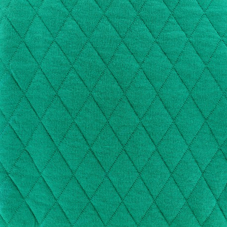 Quilted jersey fabric Diamonds 10/20 - emeraude x 10cm