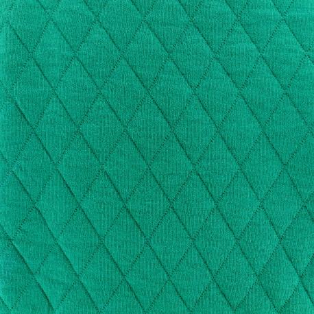 Tissu jersey matelassé losanges 30/50 - emeraude x 10cm
