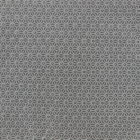 Tissu coton crétonne Saki - gris/blanc x 10cm