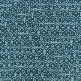Tissu coton crétonne Saki - bleu canard/blanc x 10cm