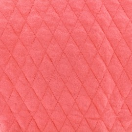 ♥ Only one piece 70 cm X 150 cm ♥ Quilted jersey fabric Diamonds 10/20 - corail