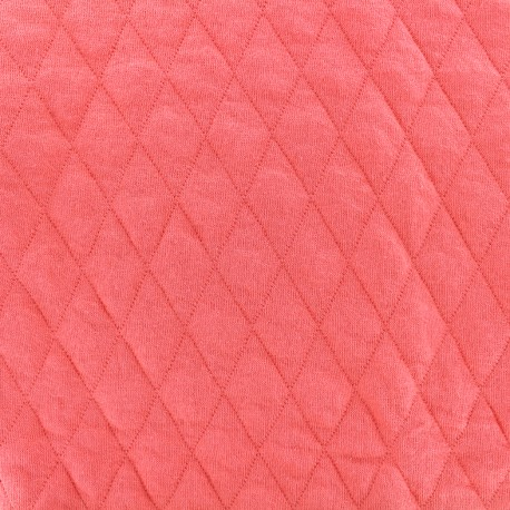Quilted jersey fabric Diamonds 10/20 - corail x 10cm