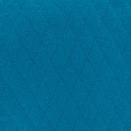 Tissu jersey matelassé losanges 30/50 - bleu x 10cm