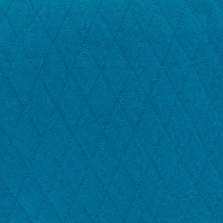 Quilted jersey fabric Diamonds 10/20 - blue x 10cm