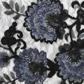 Tissu Paillettes sur tulle brodé floral - noir x 10cm