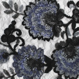 Sequined Lace Fabric Brodé floral - black x 10cm