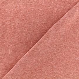 Jersey tubulaire bord-côte chiné - brique x 10cm