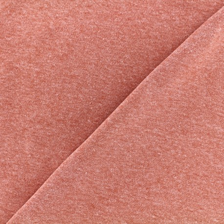 Mocked knitted Jersey 1/1 tubular edging fabric - brick red x 10cm
