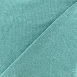 Jersey tubulaire bord-côte chiné - turquoise x 10cm