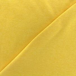 Jersey tubulaire bord-côte chiné - jaune x 10cm