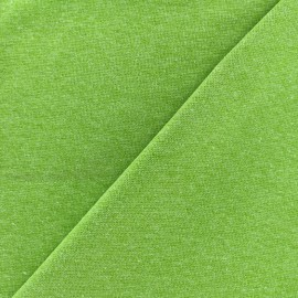 Jersey tubulaire bord-côte chiné - anis x 10cm