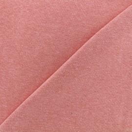 Jersey tubulaire bord-côte chiné - corail x 10cm