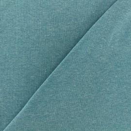 Jersey tubulaire bord-côte chiné - bleu paon x 10cm