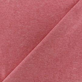 Jersey tubulaire bord-côte chiné - rouge x 10cm