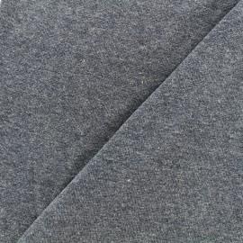 Jersey tubulaire bord-côte chiné - bleu jean x 10cm