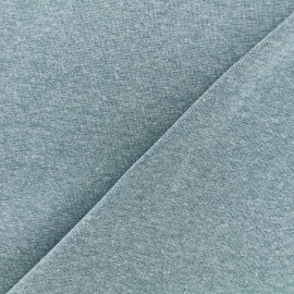 Mocked knitted Jersey 1/1 tubular edging fabric - frozen blue x 10cm