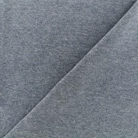 Jersey tubulaire bord-côte chiné - bleu horizon x 10cm