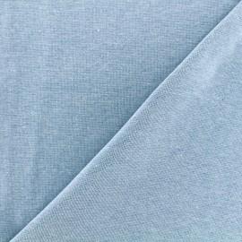 Jersey tubulaire bord-côte chiné - bleu ciel x 10cm
