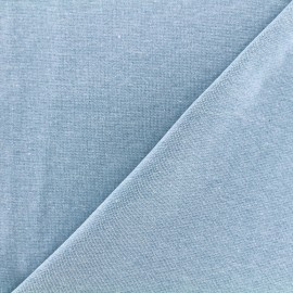 Mocked knitted Jersey 1/1 tubular edging fabric - skyblue x 10cm