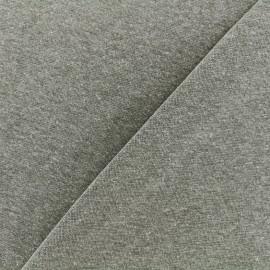Jersey tubulaire bord-côte chiné - kaki x 10cm