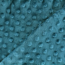 Tissu Velours minkee doux relief à pois - bleu paon x 10cm