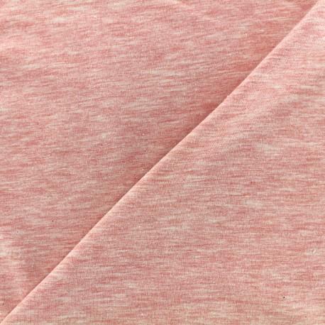 Tissu jersey uni - rose clair chiné x 10cm