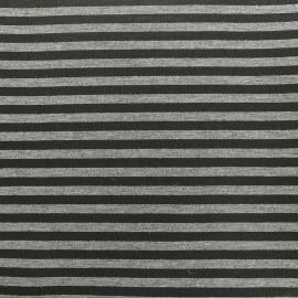 Tissu Néoprène Scuba rayé 5mm - gris cuivré x 10cm