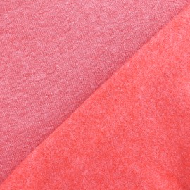 Tissu sweat chiné - rouge x 10cm