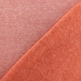 Tissu sweat chiné - brique x 10cm