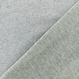 Tissu sweat chiné - kaki x 10cm