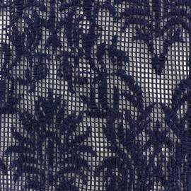 Net embroidered lace Fabric - navy x 10cm