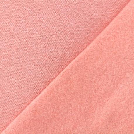 Tissu sweat chiné - corail x 10cm