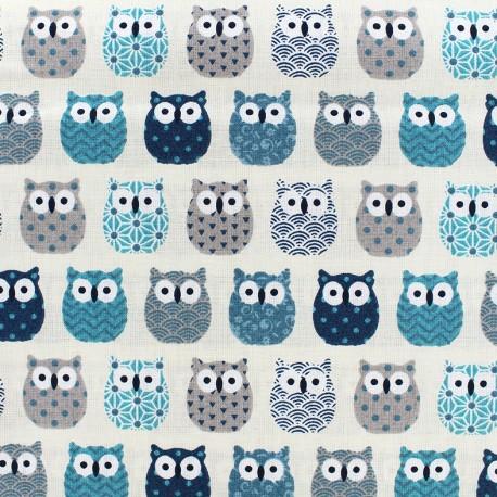 Tissu coton crétonne Mini Hiboux - bleu canard x 10cm