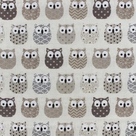 Tissu coton crétonne Mini Hiboux - beige x 10cm