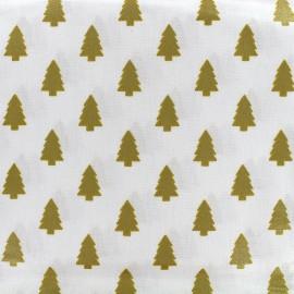 Tissu coton crétonne mini sapins - gold x 10cm