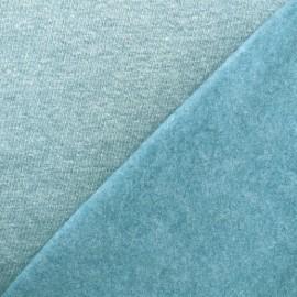 Tissu sweat chiné - bleu givré x 10cm