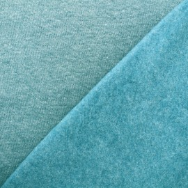 Tissu sweat chiné - bleu paon x 10cm
