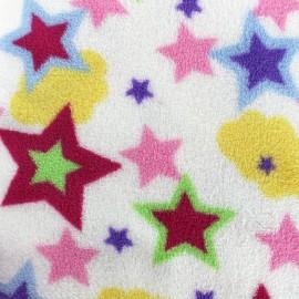 Tissu Doudou Magic stars - blanc x 10cm