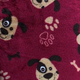 Tissu Doudou Happy dog - lie de vin x 10cm
