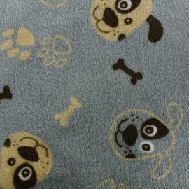 Tissu Doudou Happy dog - gris bleuté x 10cm