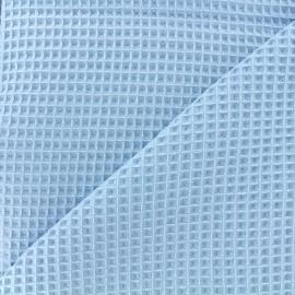 Tissu éponge nid d'abeille recto-verso - bleu pastel x 10cm