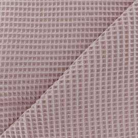 Tissu éponge nid d'abeille recto-verso - vieux rose x 10cm