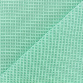 Double-sided Honeycomb towel fabric - seagreen x 10cm