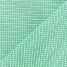 Tissu éponge nid d'abeille recto-verso - vert d'eau x 10cm