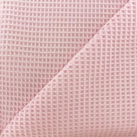 Tissu éponge nid d'abeille recto-verso - rose pâle x 10cm